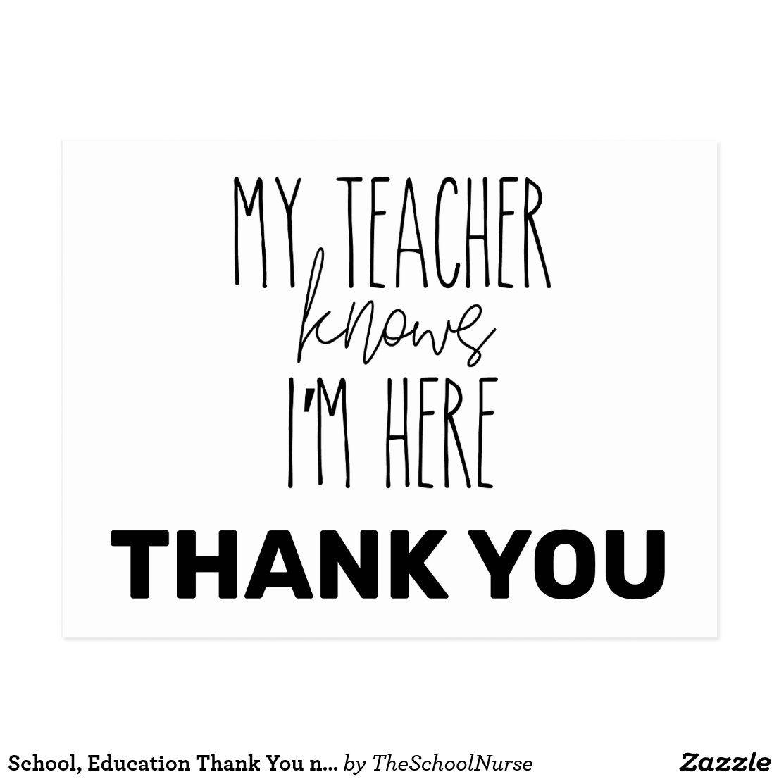 School, Education Thank You note; nurse teacher Postcard