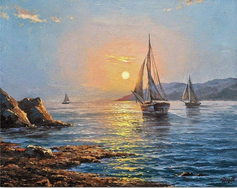 Cuadros pintados al oleo de barcos marinas pinterest for Cuadros pintados al oleo