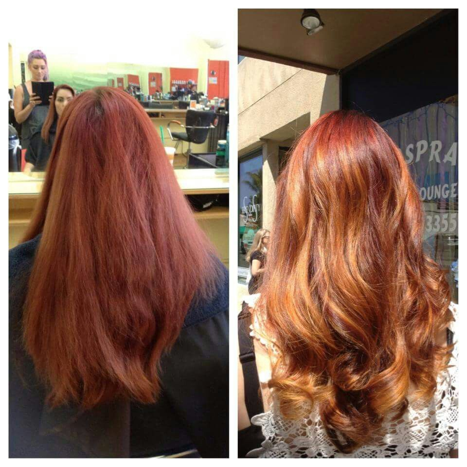 Red hair golden copper balayage stylist colorist