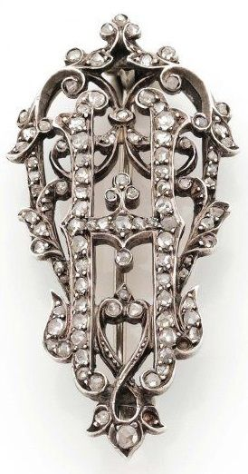 A late 19th century diamond brooch, with the letter H, set throughout with…
