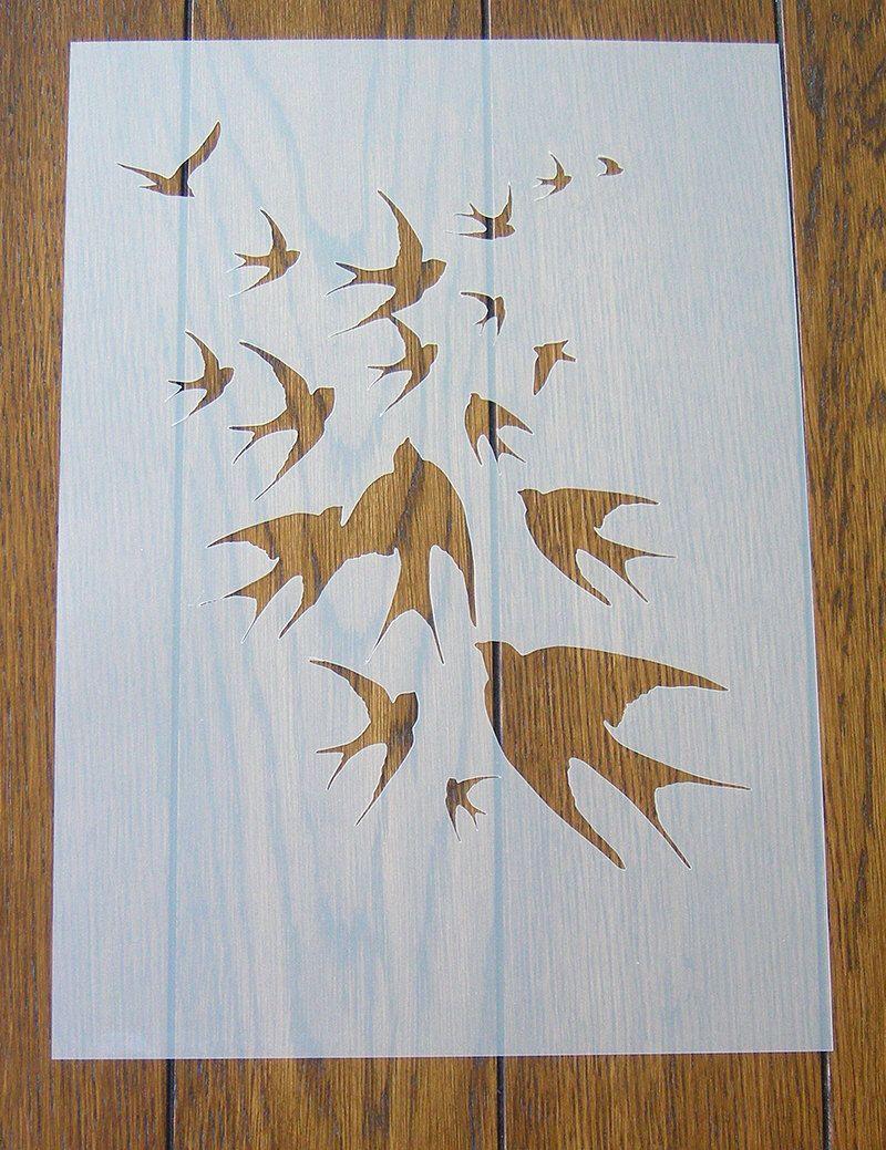 Birds in Flight Stencil Mask Reusable Mylar Sheet for Arts & Crafts ...