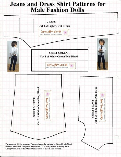 FREE printable sewing pattern for male fashion doll clothes ...