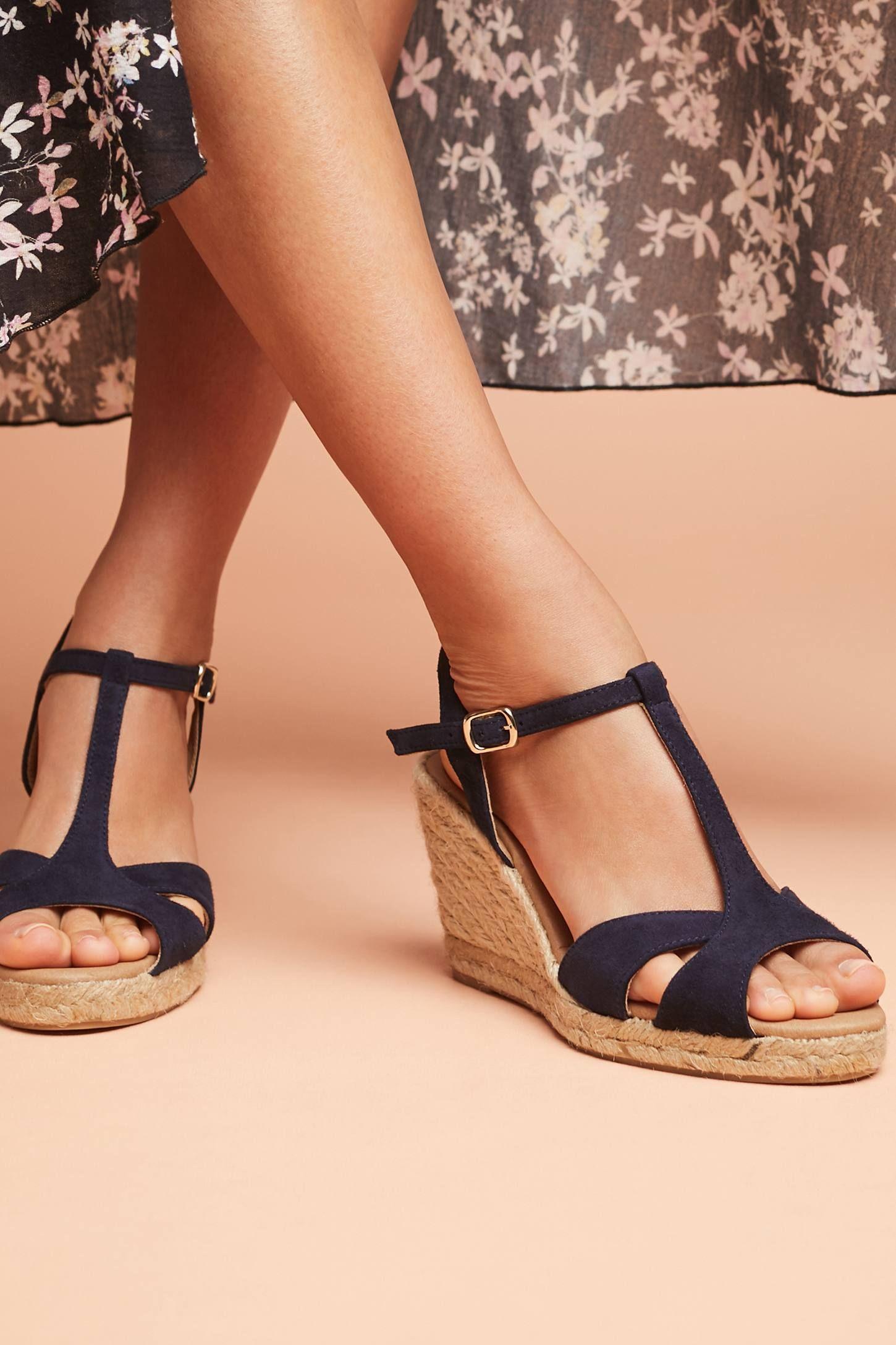 Anthropologie Suede T-Strap Wedge Sandals | Anthropologie ...