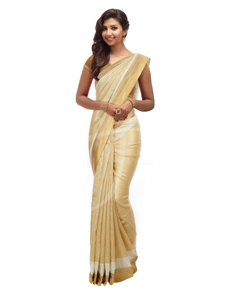 Sandal cream color bhagalpuri silk saree