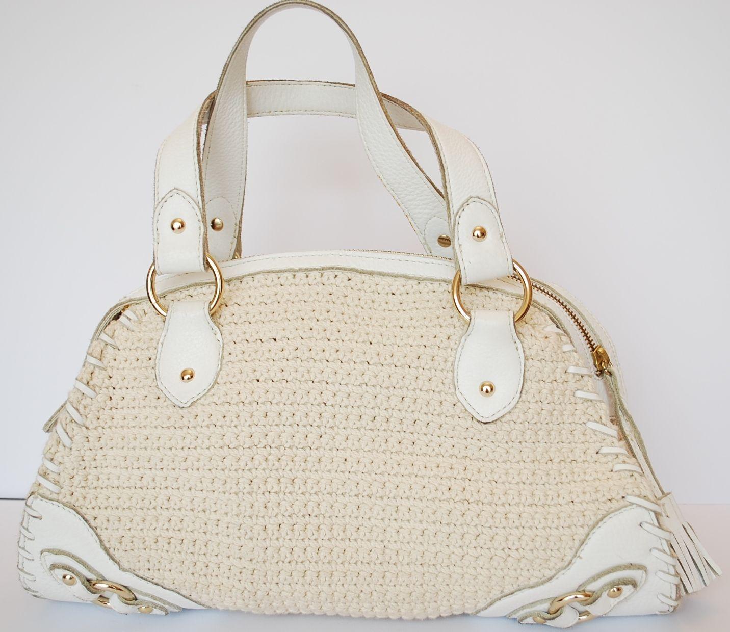 80b7447a2122 White leather and cream crochet 'The SAK' handbag | the sak crochet