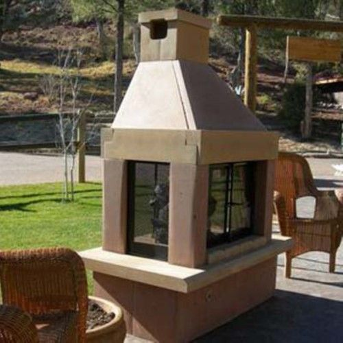 Mirage Stone See-Through Outdoor Fireplace with Gas Log Kit, Brown