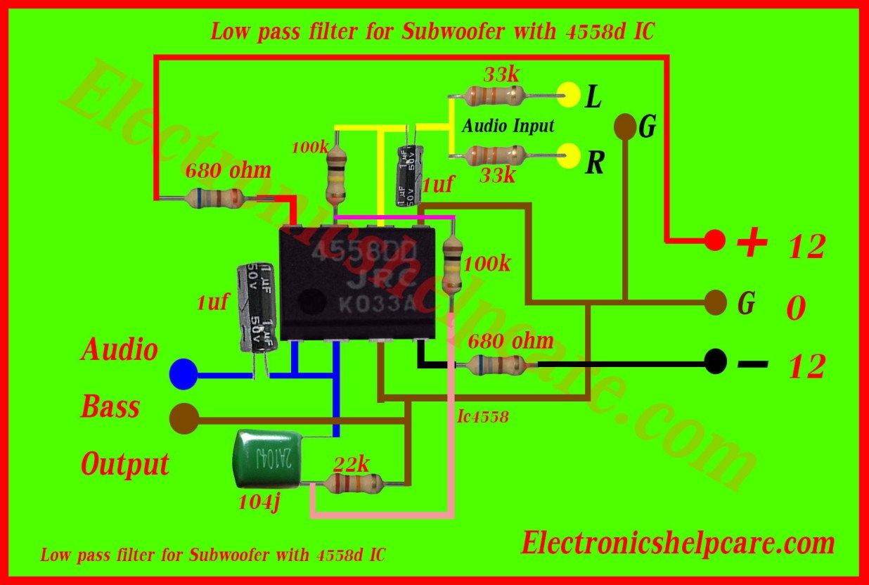 Low Pass Filter For Subwoofer With 4558d Ic Circuit In 2019 Simple Fet Amplifier Electronic Circuits And Diagramelectronics Pinterest Filters Solar Power System