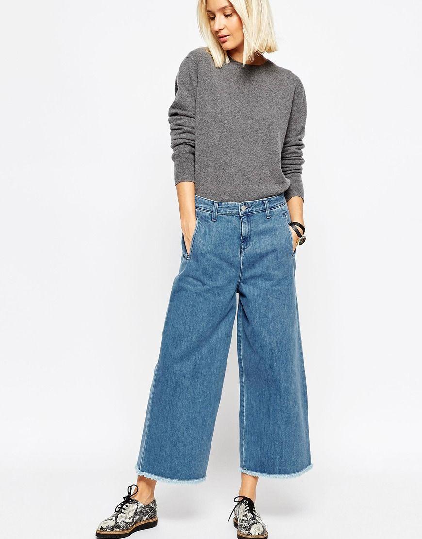 Image 1 of ASOS WHITE Wide Leg Jeans | blue jean baby | Pinterest ...