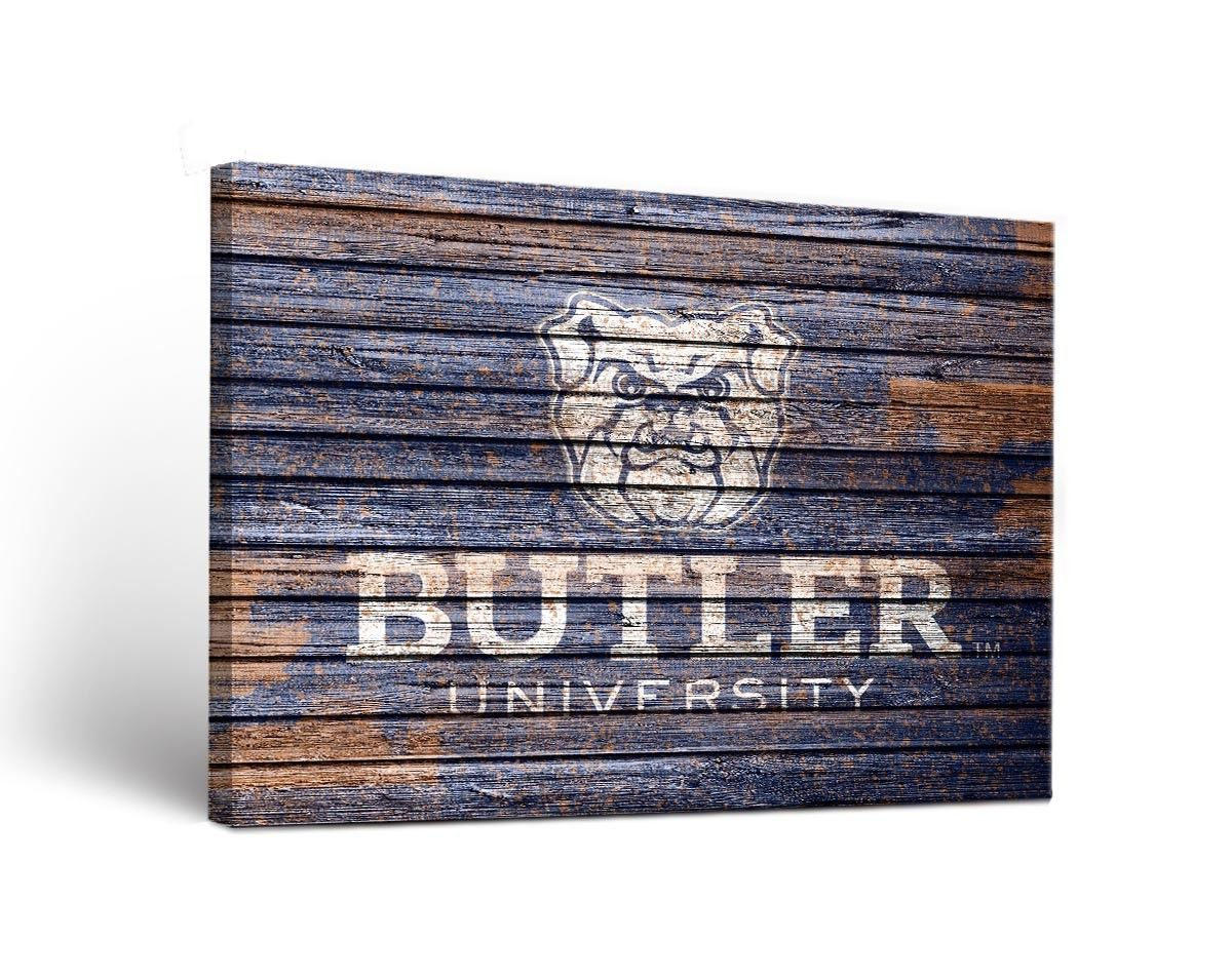 NCAA Butler Bulldogs Fight Weathered Version Wall Art on Wrapped Canvas
