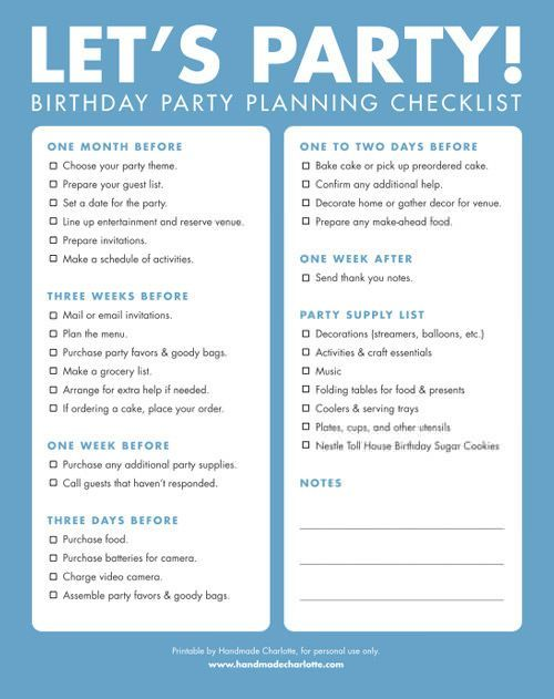 Diy printable birthday party checklist birthday party for Things to do at a housewarming party