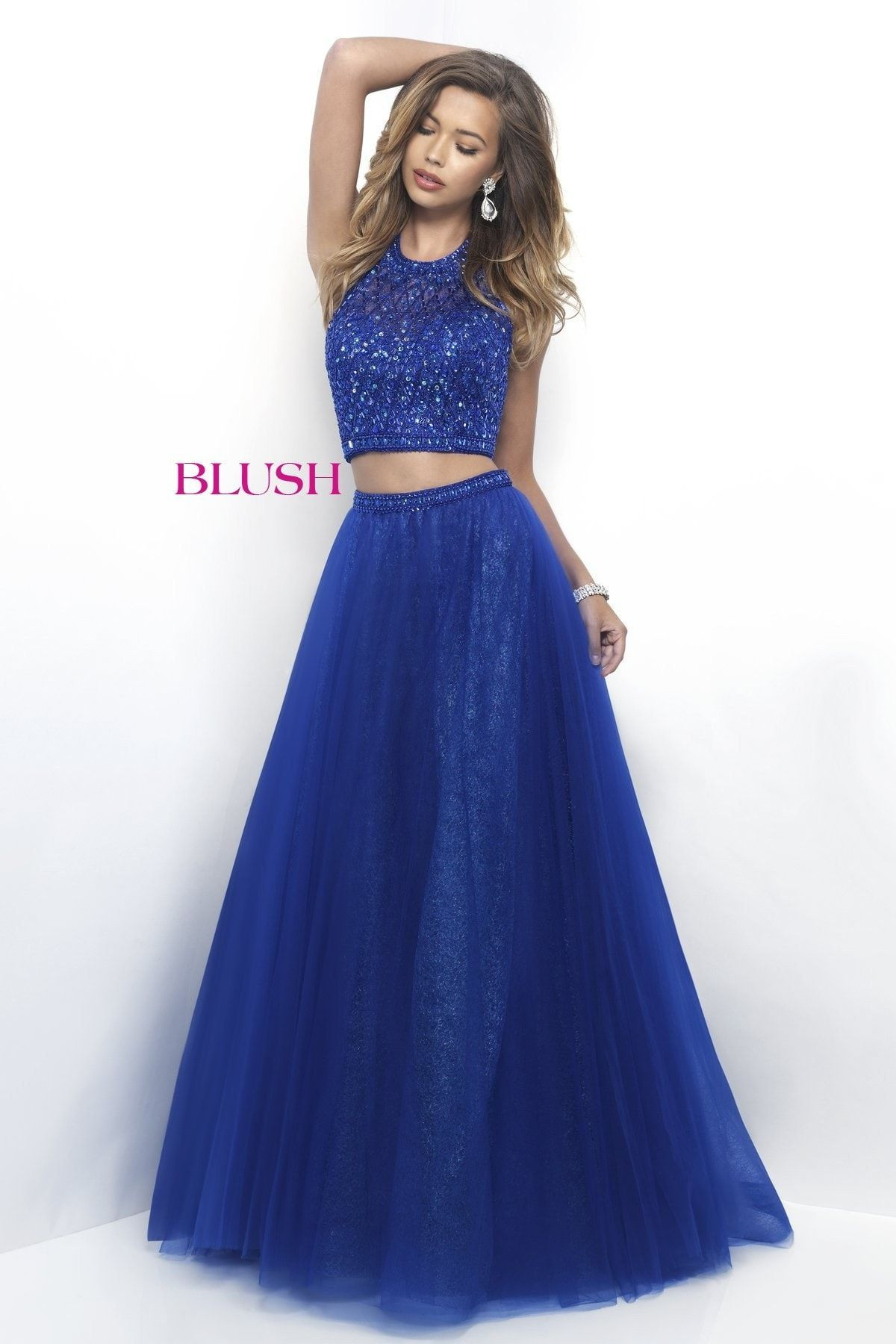 Blush prom sapphire halter two piece prom dress products