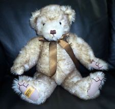 Ltd Ed Merrythought Tipped Beige Mohair Teddy Bear W/ Growler #276/1000 Signed