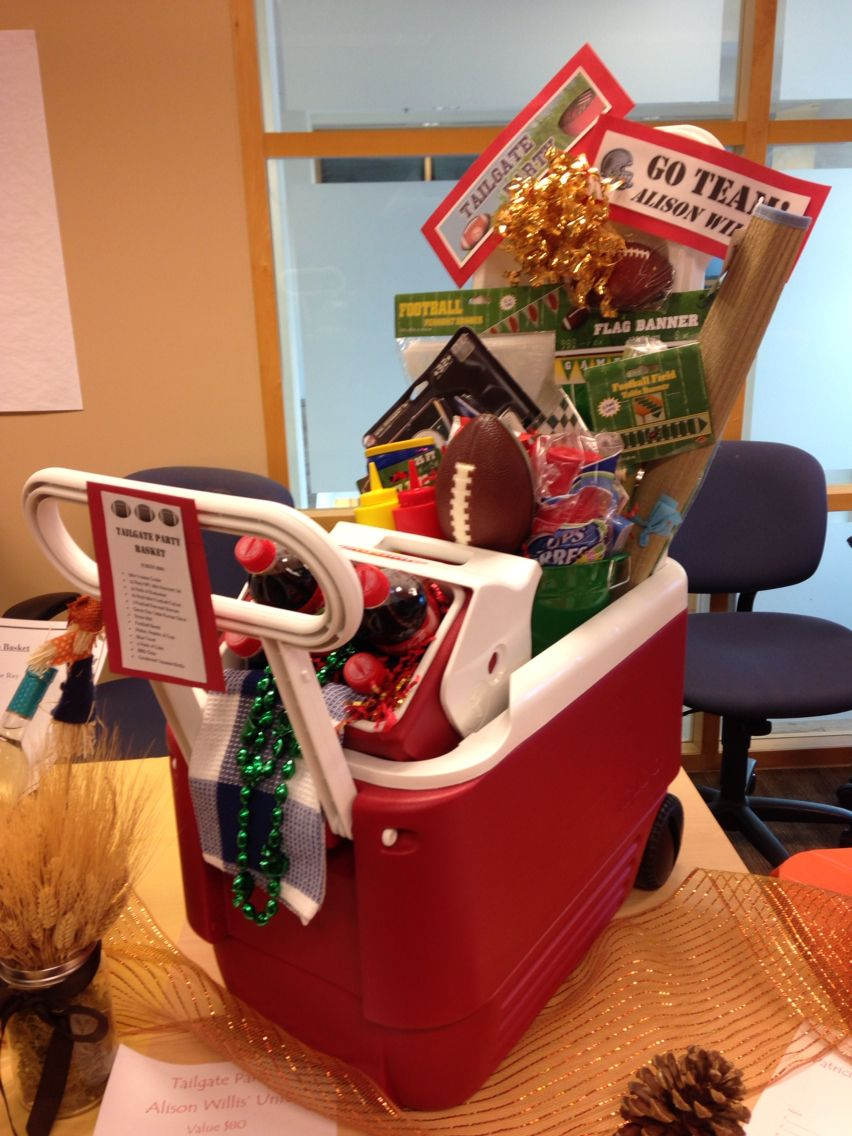 Tailgate Gift basket - silent auction basket - sport themed ...