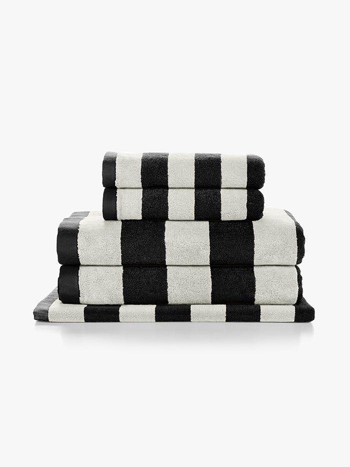 stripes black towels by aura