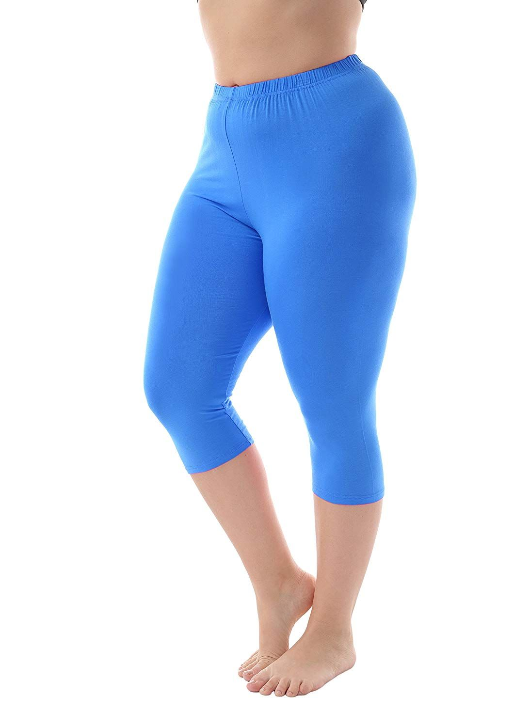 9d2efe10742 Zerdocean Women s Modal Plus Size Basic Solid Color Capri Leggings at  Amazon Women s Clothing store
