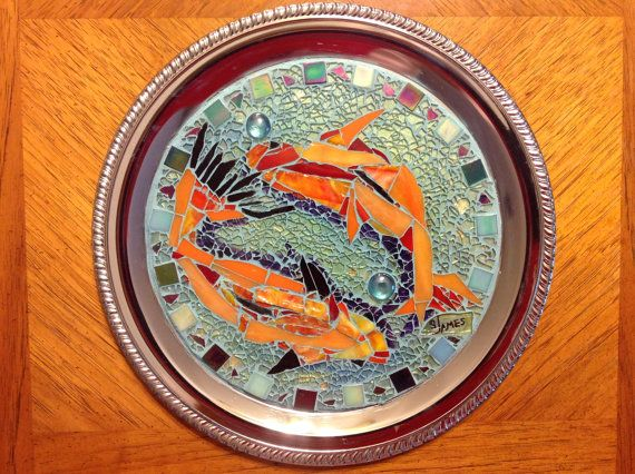 Beautiful 13 chrome platter with Koi goldfish mosaic by by SOFAS