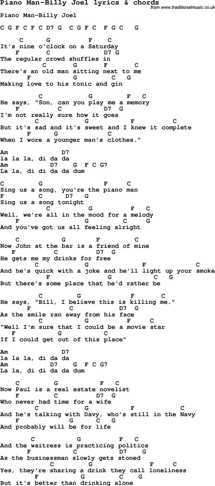 Chords and lyrics for guitar - Love Song Lyrics For Piano Man Billy Joel With Chords For Ukulele Guitar