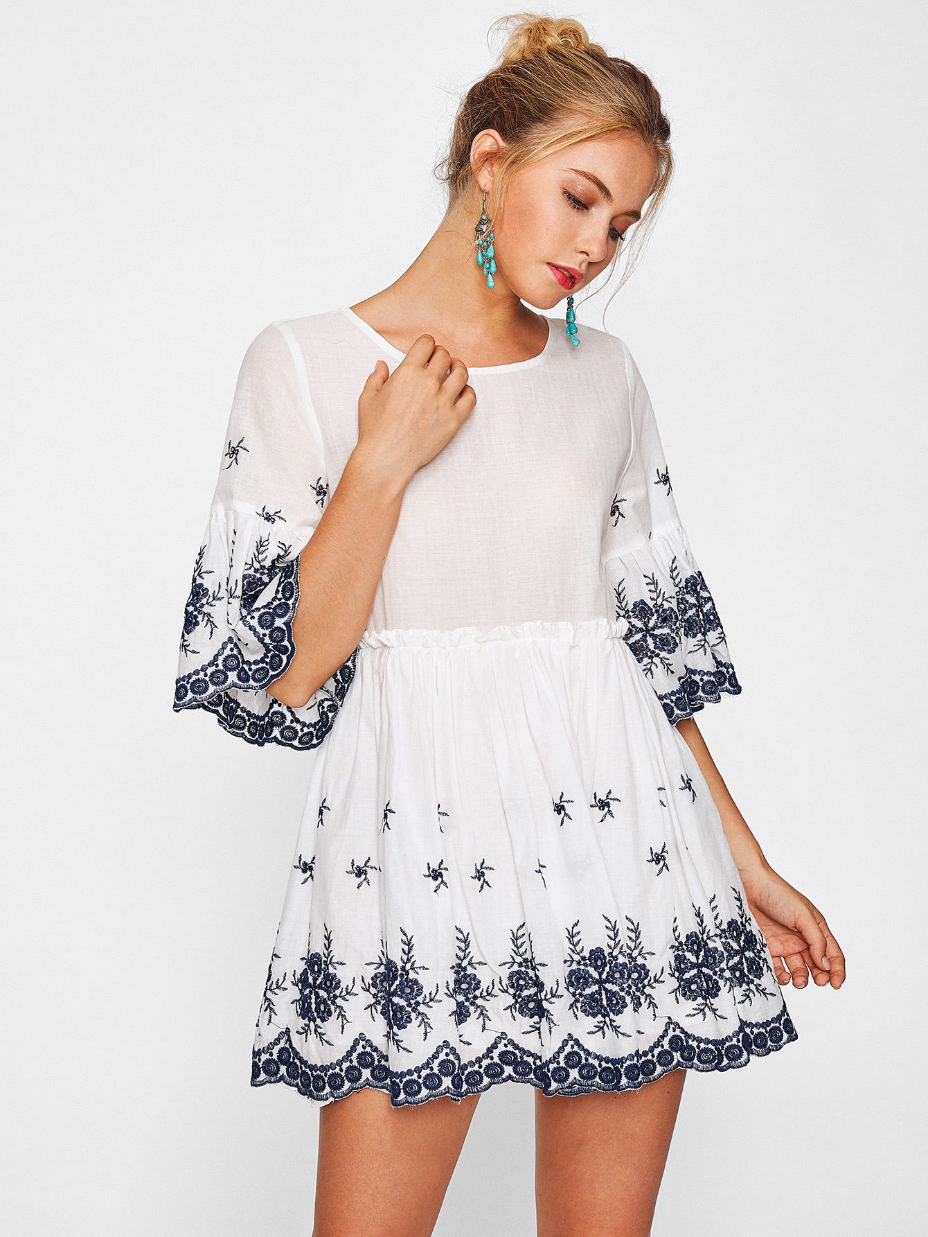 5fd0d9cd948b Shop Scallop Eyelet Embroidered Smock Dress online. SheIn offers Scallop  Eyelet Embroidered Smock Dress & more to fit your fashionable needs.