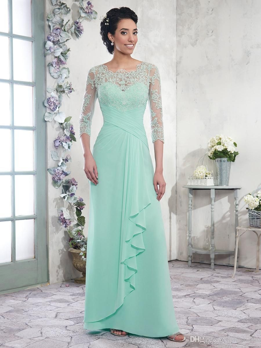 Chiffon A-line Mother of the Bride Dresses Scoop 3/4 Long Sleeves ...