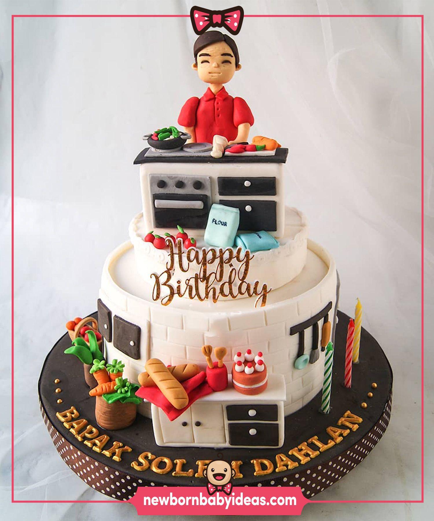 kitchen utensils cake design Sugar dough birthday cake. Cook, Red dress women, kitchen utensils