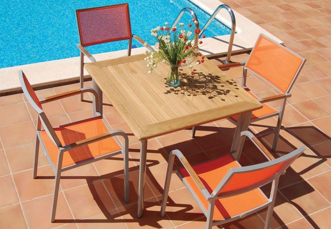 Palma mesa para exterior fija de bamb blau cuadrada - Mesas de madera para exterior ...
