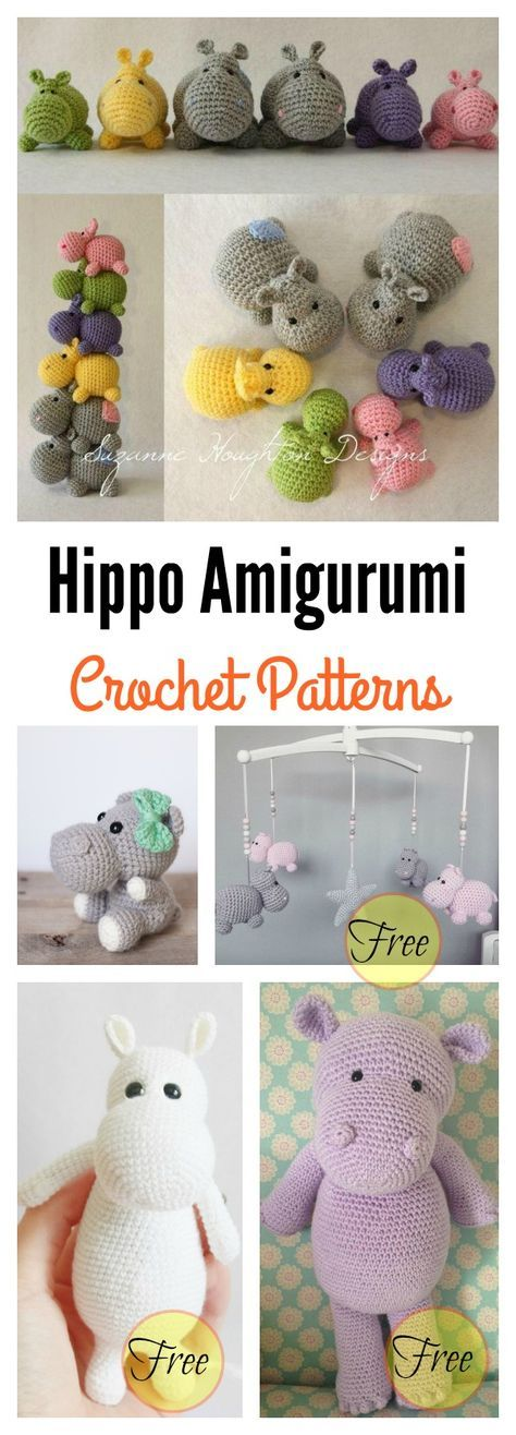 Cute Hippo Amigurumi Crochet Patterns | Amigurumi | Pinterest ...