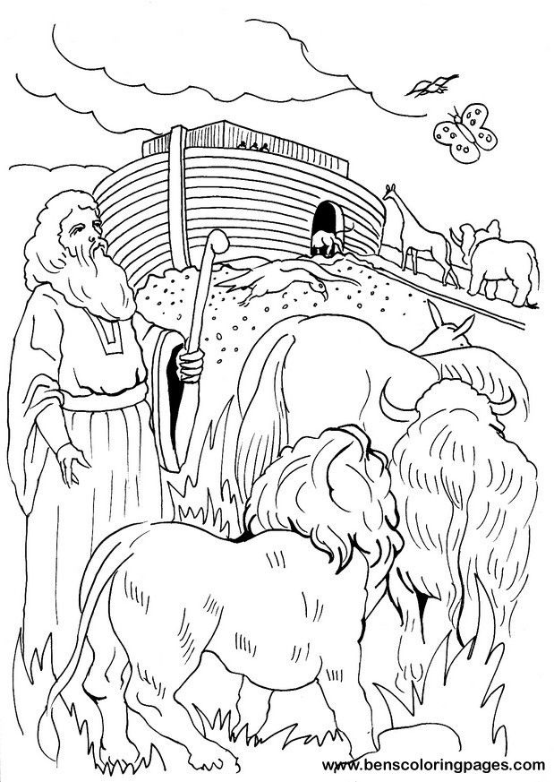 Noah leading animals onto the Ark Bible coloring page | Noah\'s Ark ...