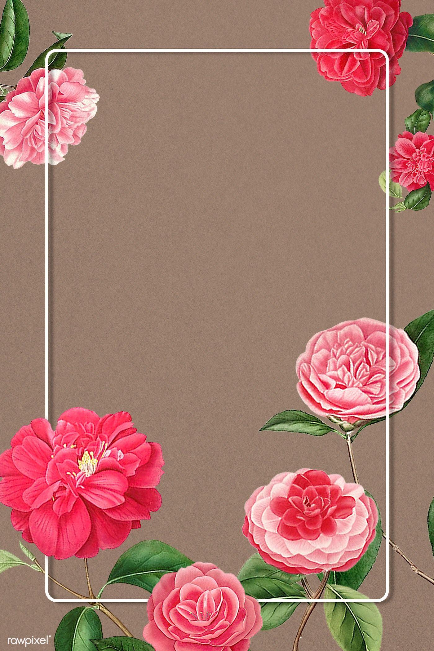 Download Premium Psd Of Red And Pink Camellia Flower Patterned Blank Frame In 2020 Flower Illustration Flower Wallpaper Flower Frame