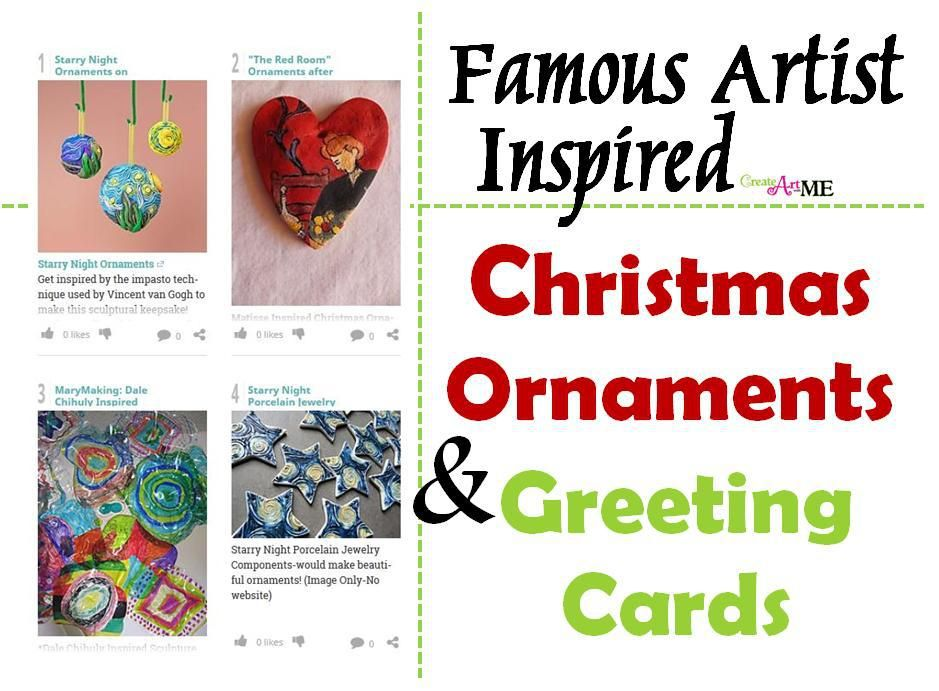 Photo of Famous Artist Inspired Christmas Ornaments and Greeting Cards