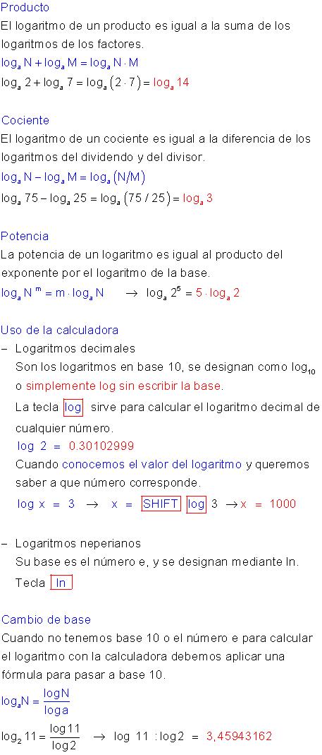 Propiedades logaritmos. | matematicas | Pinterest | Ejercicios ...