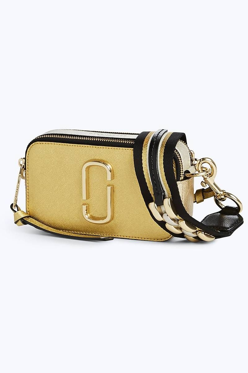 9fb7be0925897 Marc Jacobs Metallic Chain Link Snapshot Small Camera Bag in Gold ...