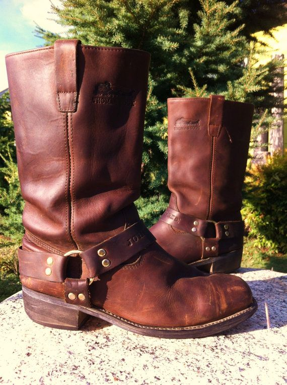 37d18961b27 Vintage 90's Thomas Cook Johnny Reb Leather Harness Motocycle Boots ...