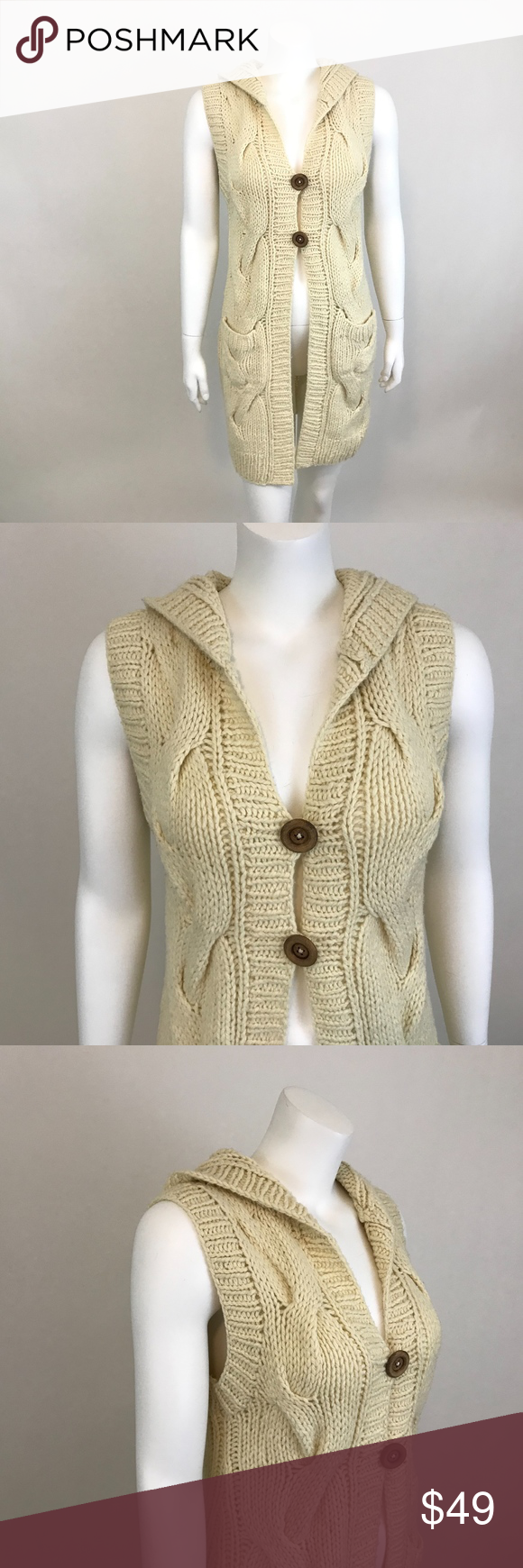 Free People Sweater Vest Cardigan Beige Cable Knit Beige Cardigan Sweater Vest Cardigan Vest