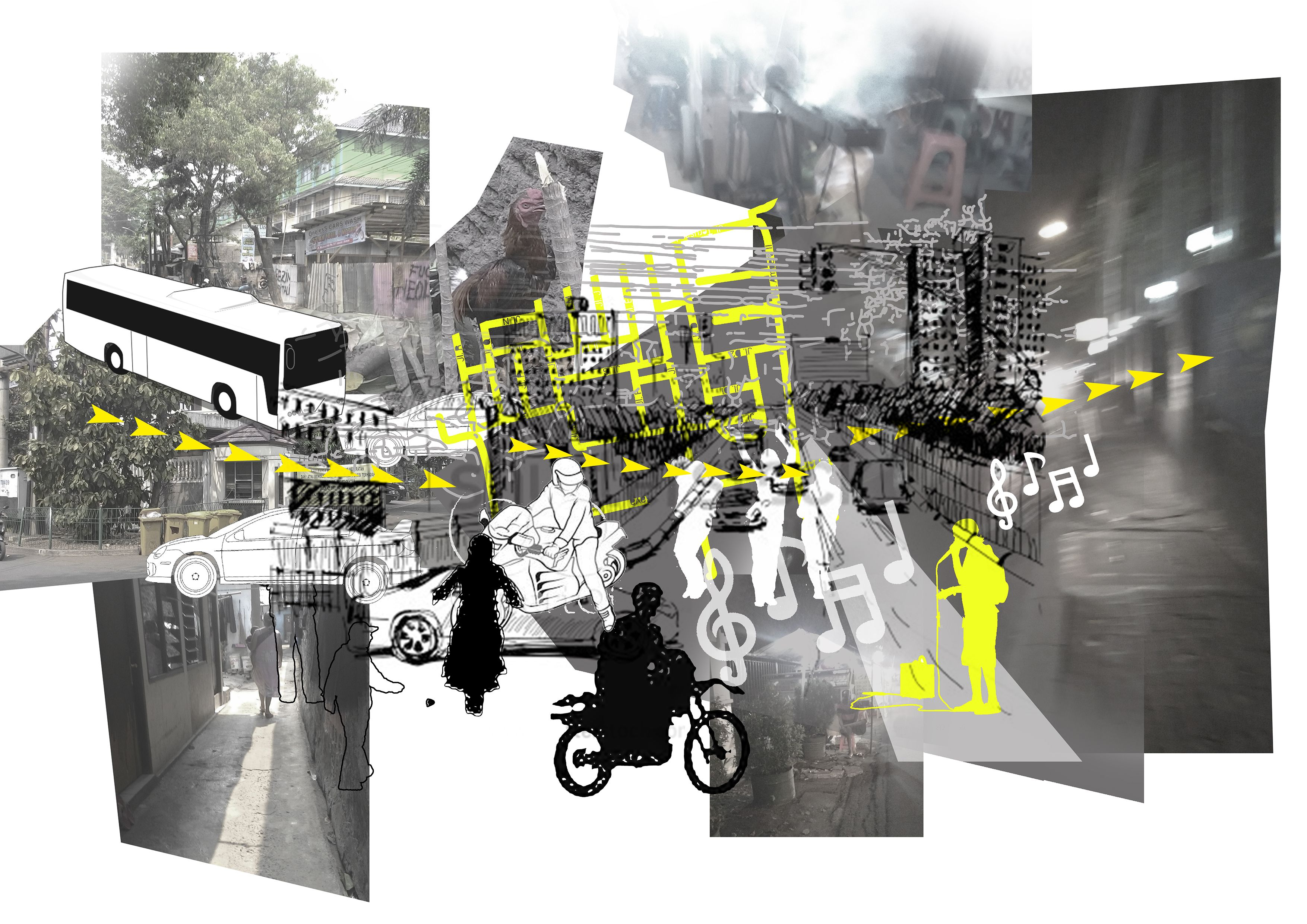 The development from the previous diagram in understanding how the Cilandak Timur citizen celebrates their space through the time. The street is a stage and where the music mainly starts. When the light is turned on, the other contrasting face shows up.