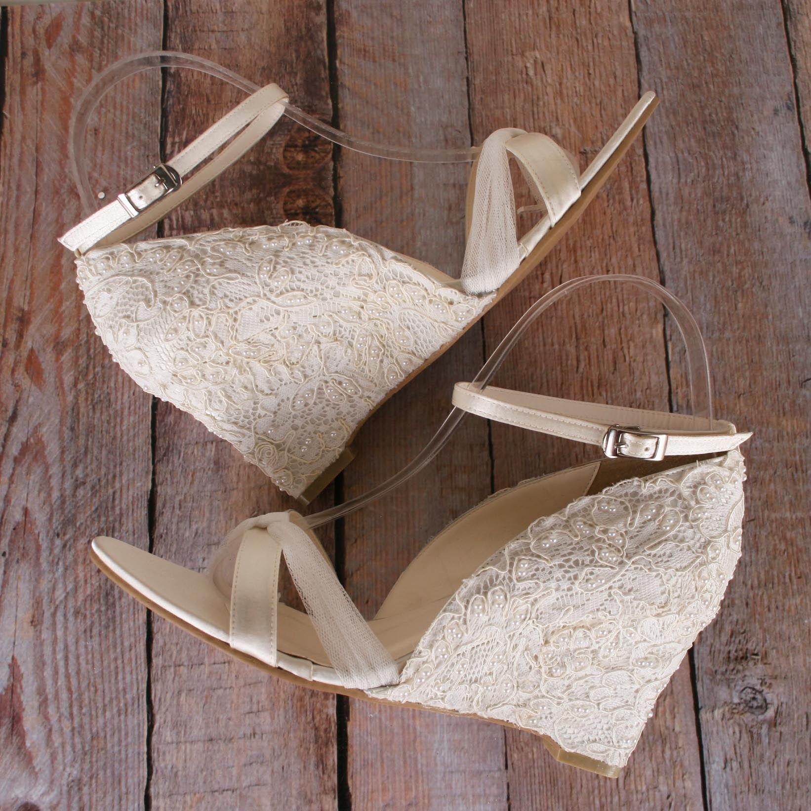 Ivory Wedges, Lace Wedding Shoes, Lace Wedges, Ivory Lace Shoes, Lace  Wedding