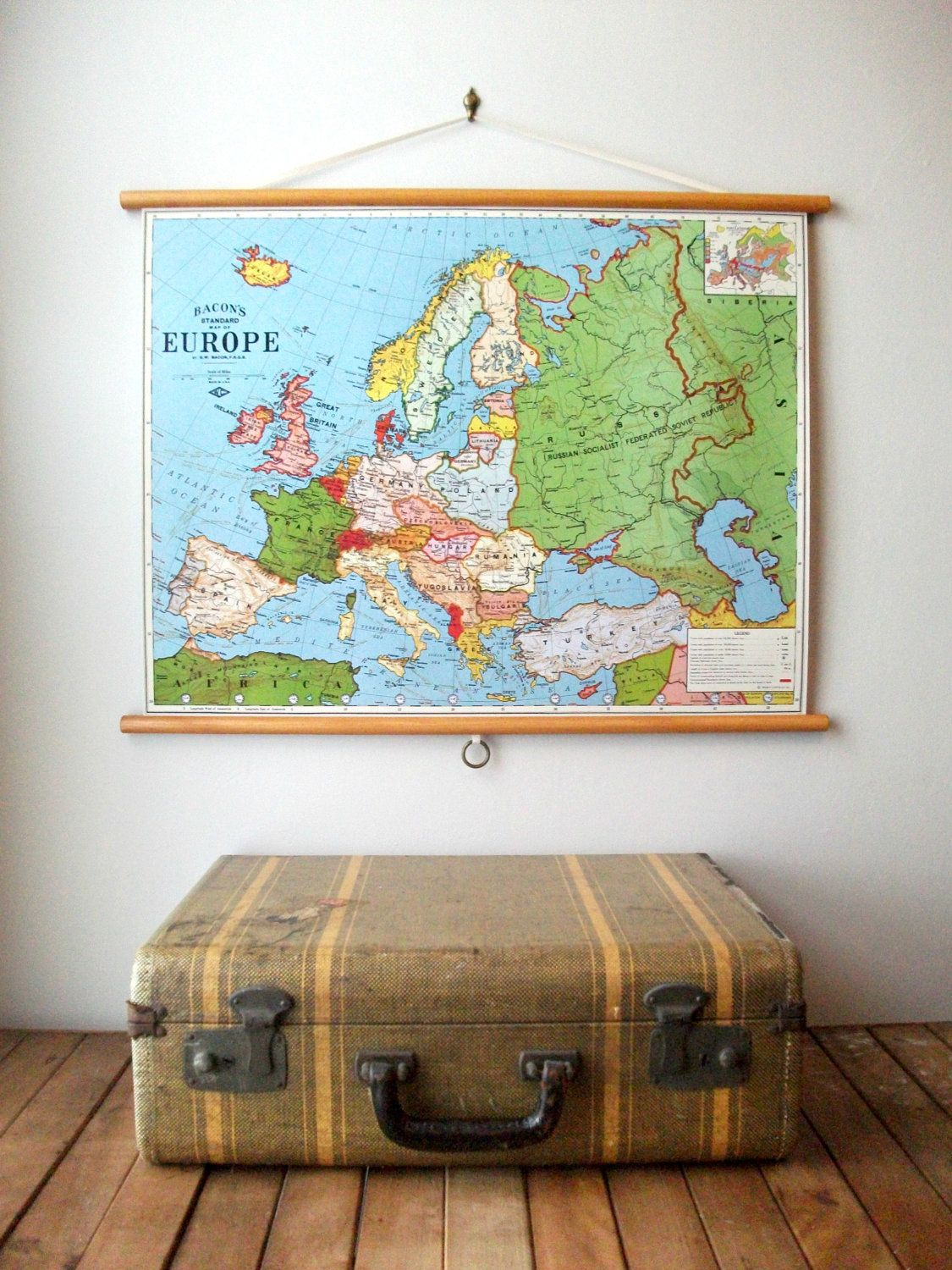 World map 1897 vintage pull down school map chart reproduction pull down map educational chart vintage style wall hanging poster print with stained wood trim map of europe 24x185 3500 via etsy gumiabroncs Gallery