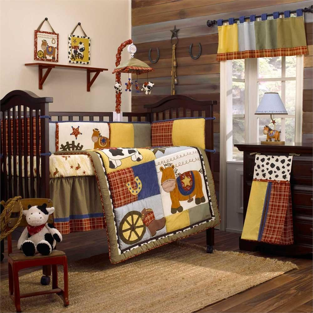 20 Beautiful Baby Boy Nursery Room Design Ideas Full Of: Round 'Em Up Baby Crib Bedding Set