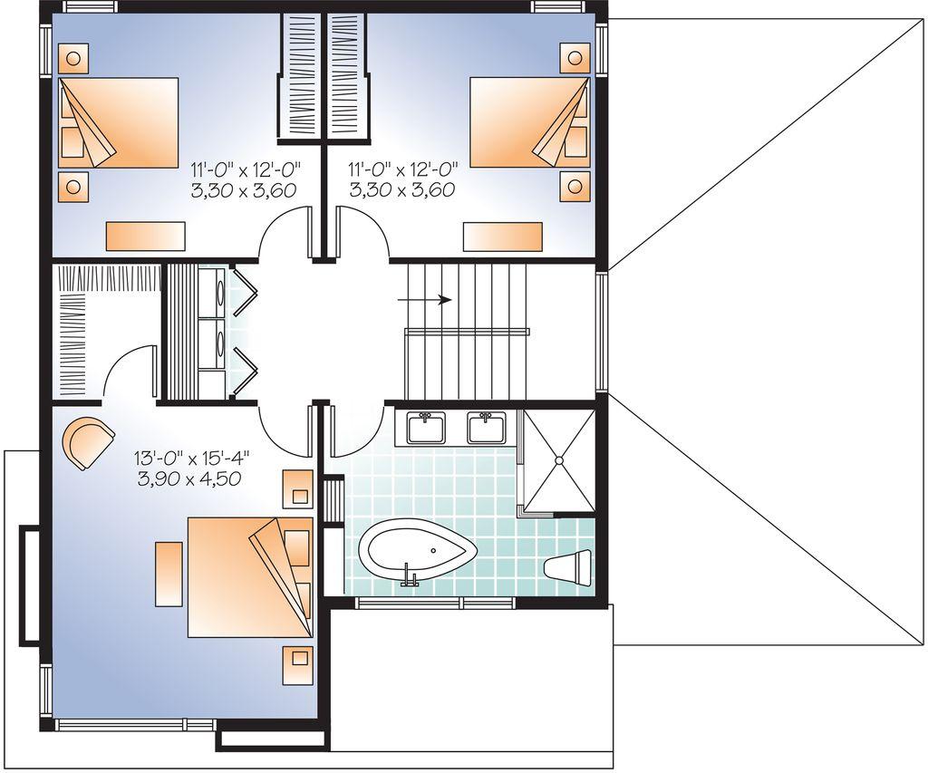 Modern style house plan 3 beds 1 5 baths 1852 sqft plan 23