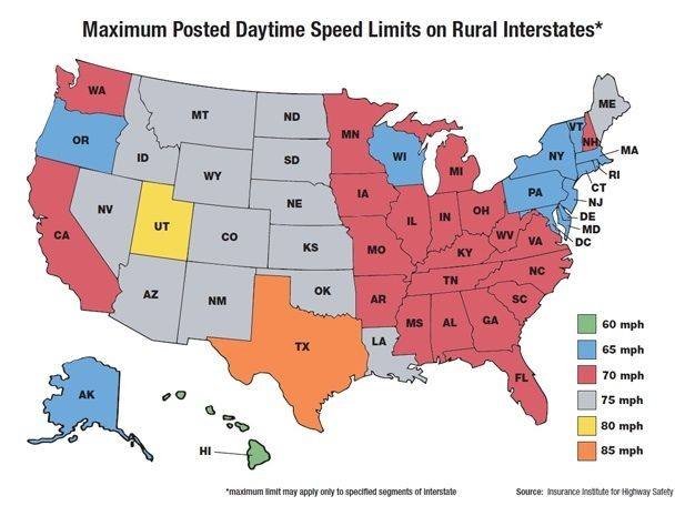 Maximum Us Posted Speed Limits By State Texan Speed Limit