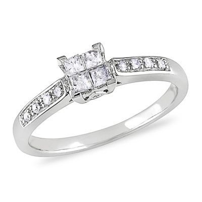 1 4 Ct T W Princess Cut Quad Diamond Engagement Ring In
