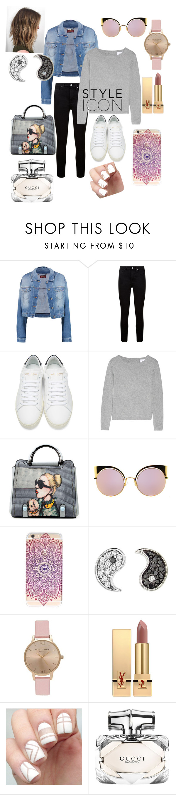 """Collage outfit"" by cutelifelove ❤ liked on Polyvore featuring beauty, 7 For All Mankind, Paige Denim, Yves Saint Laurent, Fendi, Sydney Evan, Topshop and Gucci"