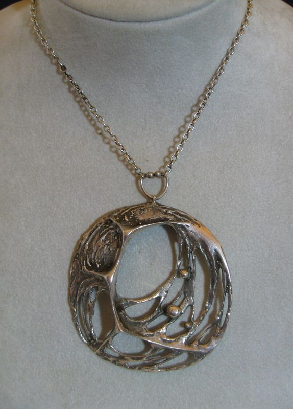 Love the bale:  VINTAGE STEN AND LAINE FINLAND HUGE MODERNIST PENDANT & CHAIN