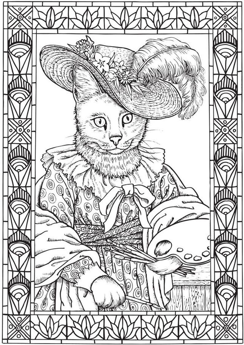 Fantastic Cats 24 Coloring Pages For Adults Instant Pdf Downloadable Coloring Book Cat Coloring Book Coloring Books Detailed Coloring Pages