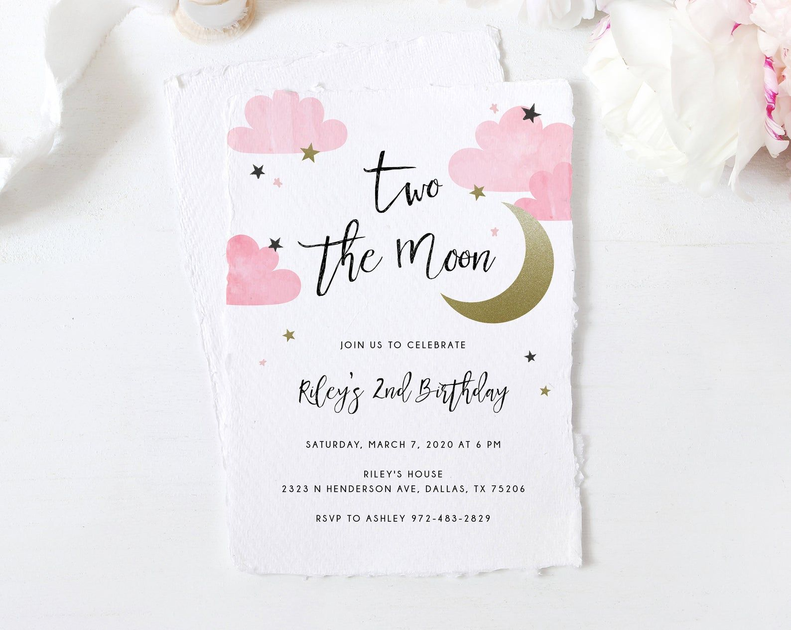 Two The Moon Invitation Template Printable 2nd Birthday Etsy In 2021 Printable Birthday Invitations Birthday Invitations 2nd Birthday Invitations