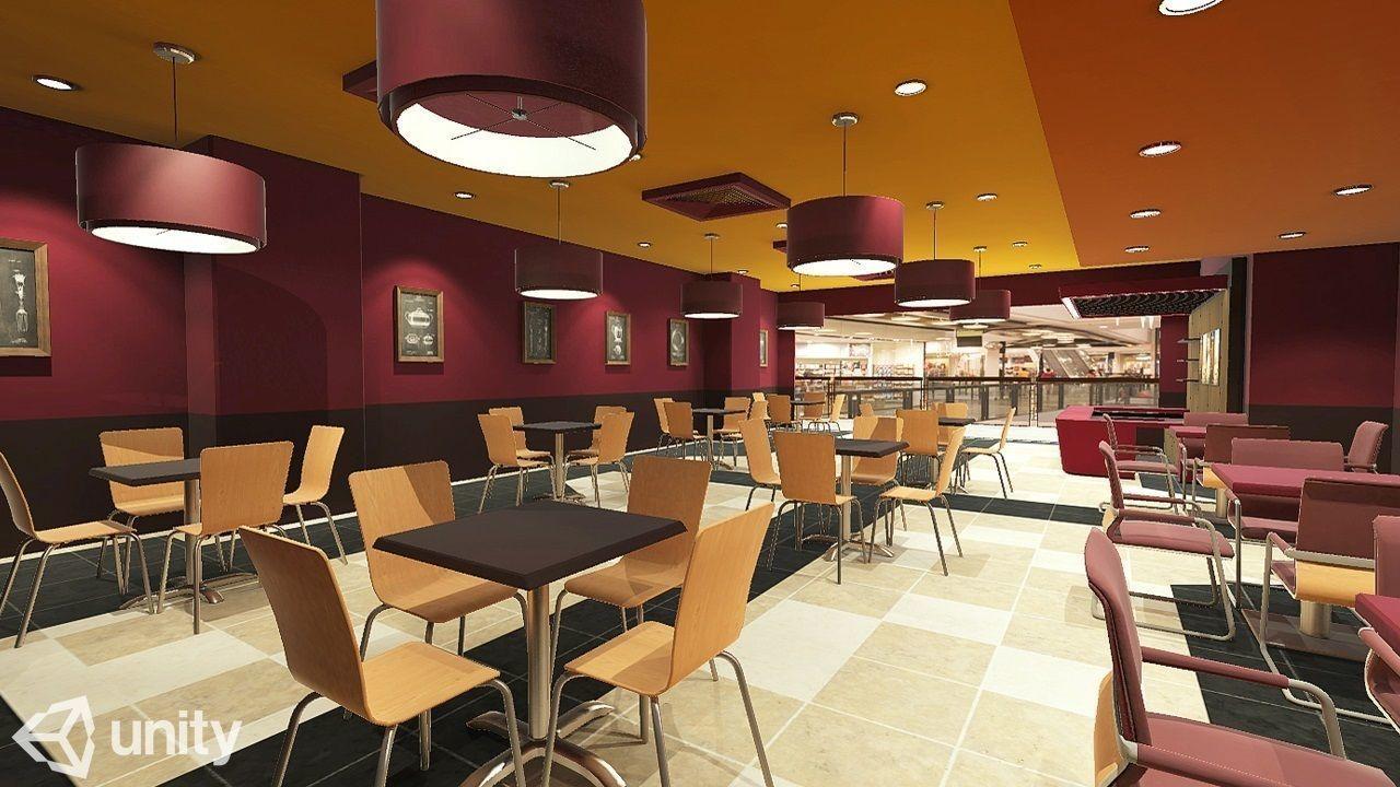 Cafe VR AR Game Ready 3D model Best interior design