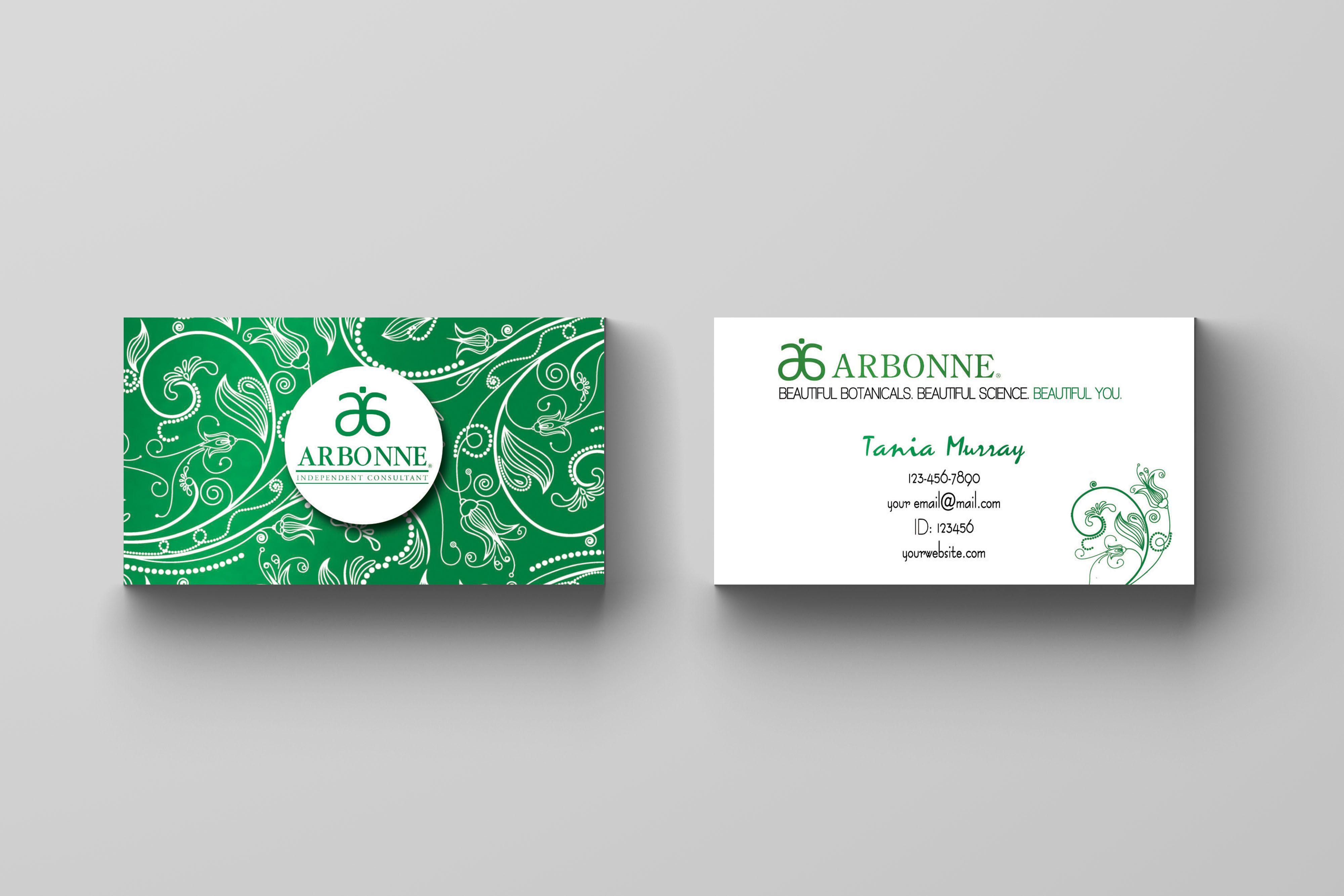 Arbonne Business Card Floral Green Kakaodesigns Arbonne Business Cards Classic Business Card Arbonne Business