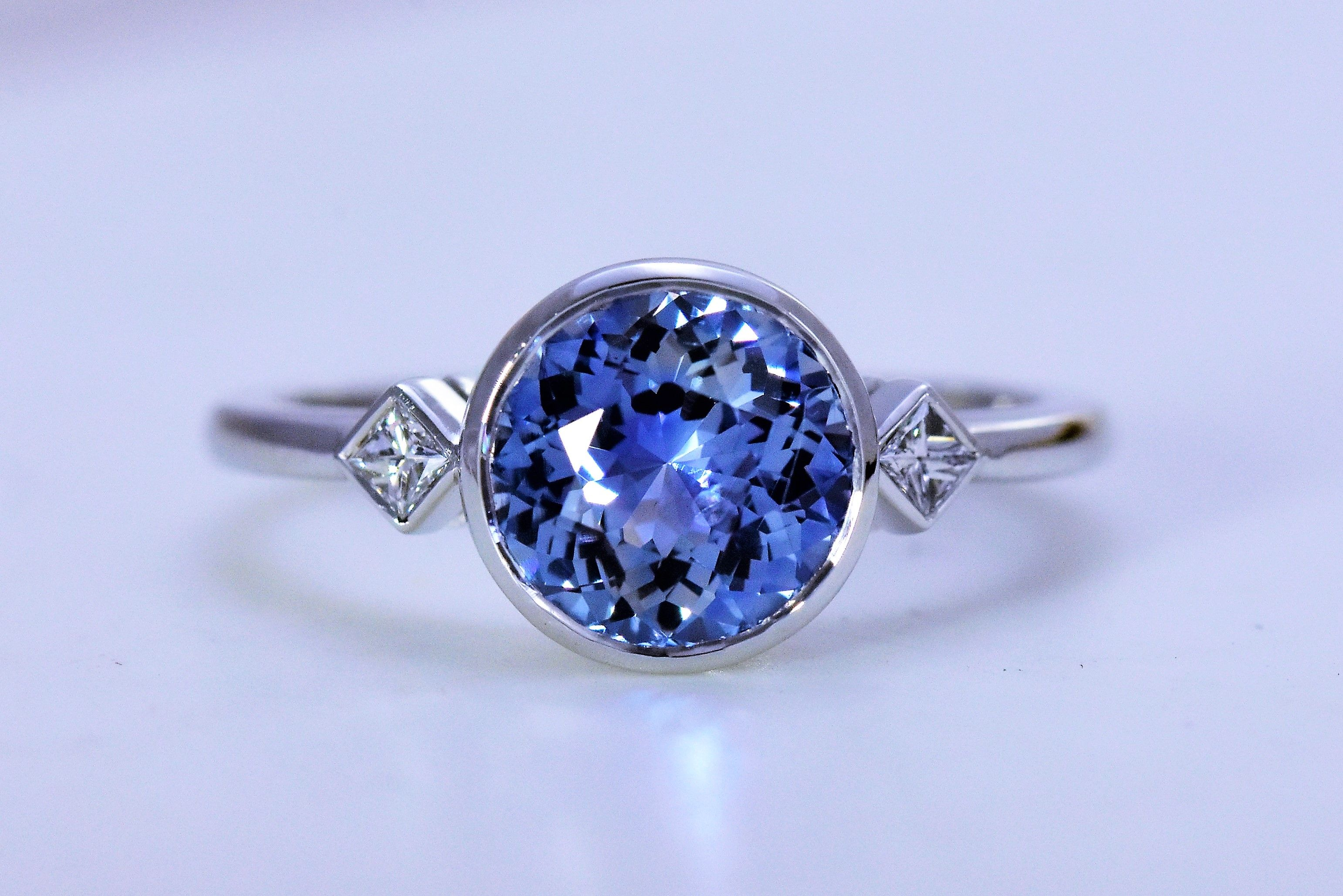 We Love This Gorgeous Sapphire And Diamond Three Stone Ring Unique Engagement Rings Rock Jewelry Stone Engagement Rings