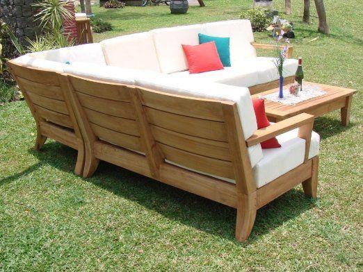 Amazon Com Atnas Grade A Teak Wood Luxurious 5pc Sectional Sofa Set