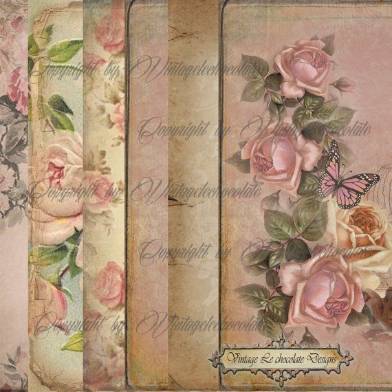 Digital Collage Paper Shabby Vintage Floral by VintageLeChocolate