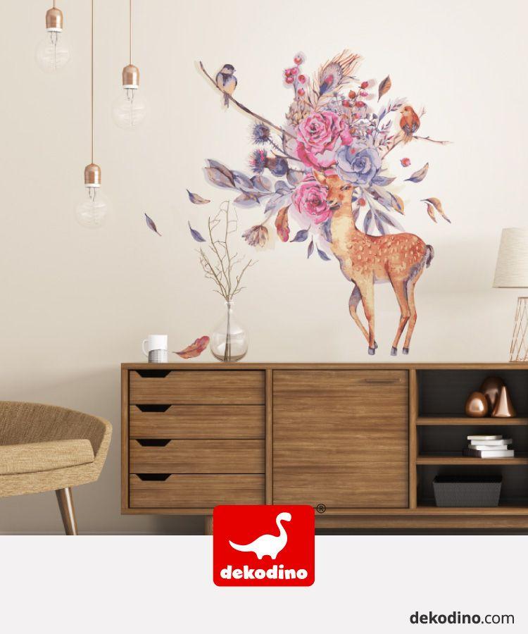 Wandtattoo Blumen Aquarell Waldtiere Reh Und Vogel Wandsticker